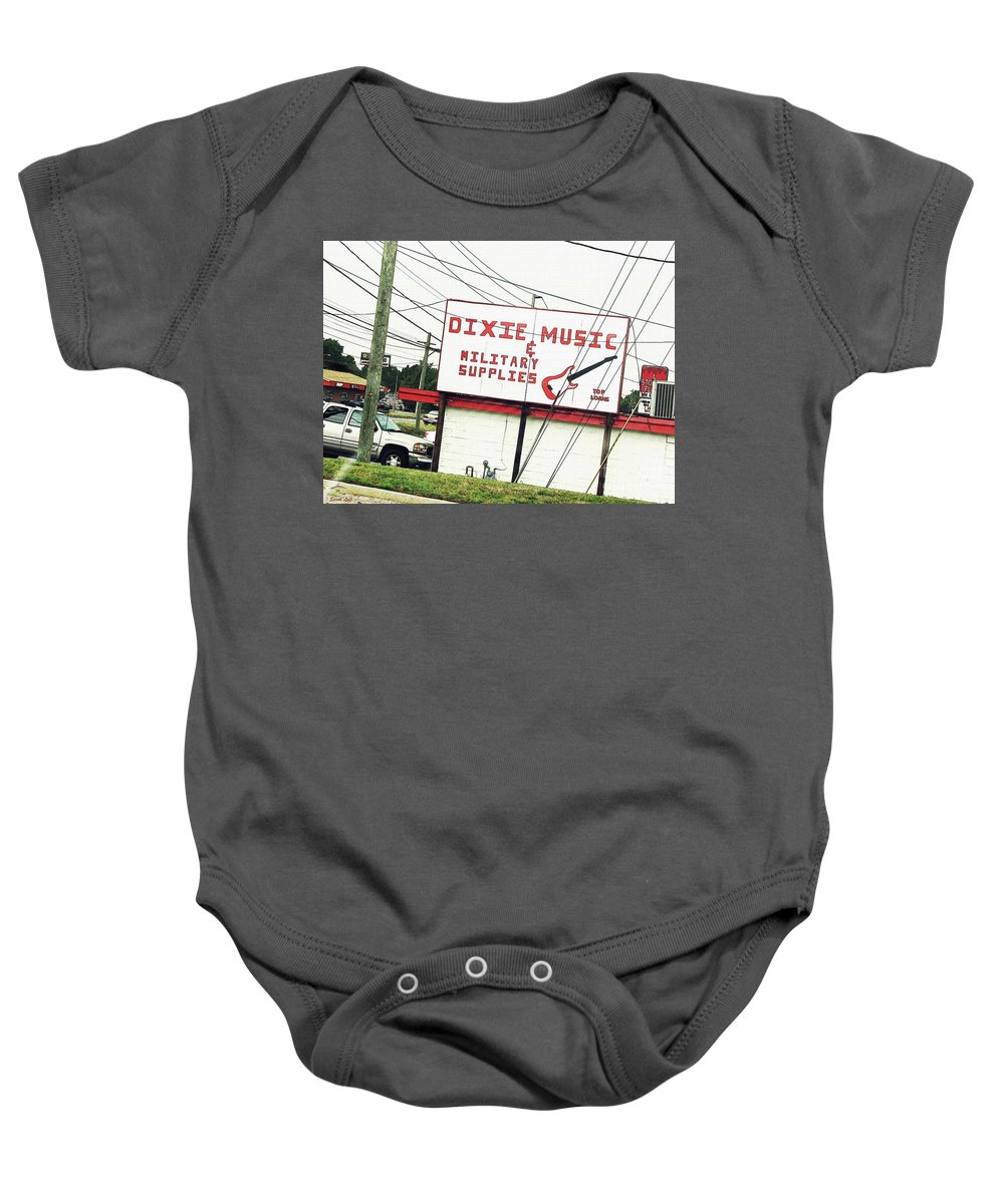 Sign Baby Onesie featuring the photograph Dixie Music by Sarah Loft