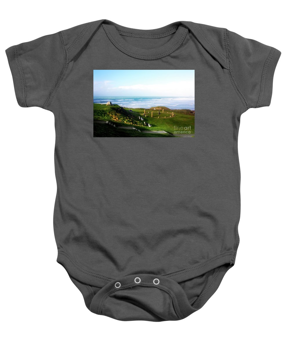 Perranporth Baby Onesie featuring the photograph Droskyn Sundial Perranporth by Terri Waters