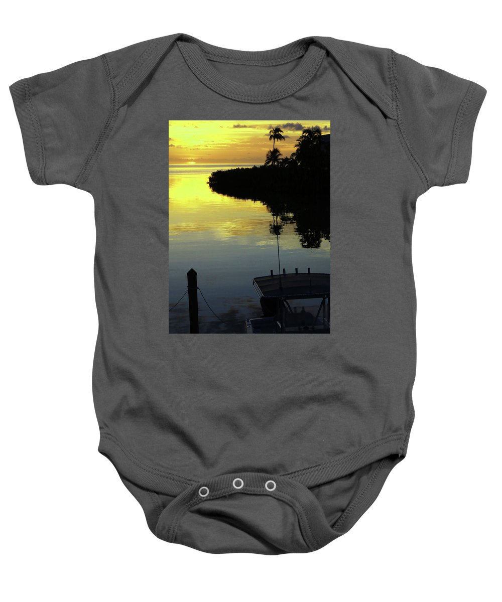 Baby Onesie featuring the photograph Dusky At Sunset, And A Palm Tree by C Frank