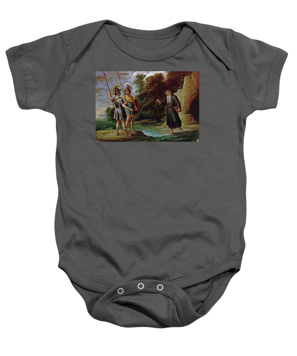 Teniers David Baby Onesie featuring the painting El Mago Descubre A Carlos Y Ubaldo El Paradero De Reinaldo by Teniers David