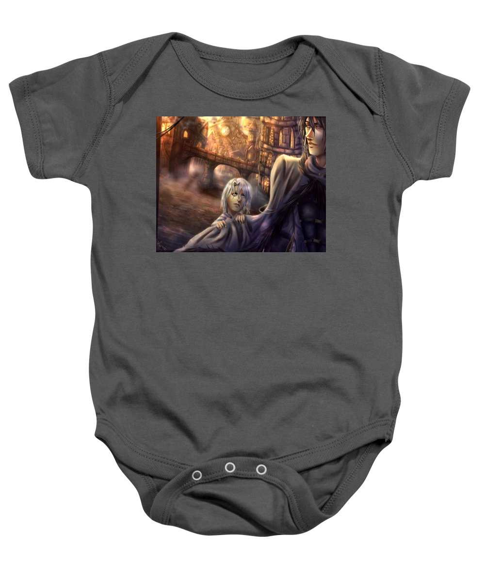 Character Baby Onesie featuring the digital art Excuse Me by Mykenzi Griffin