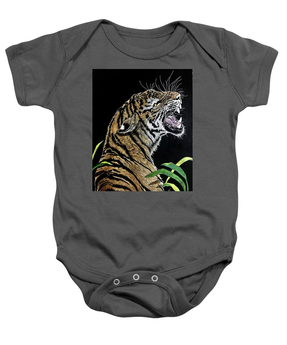 Tiger Baby Onesie featuring the mixed media Final Warning by Joe Watkins