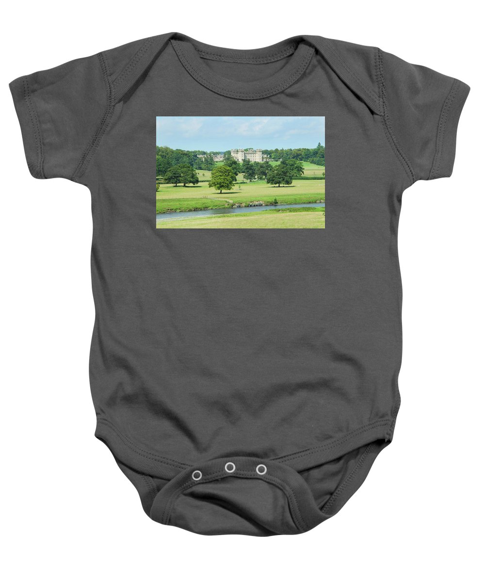 Floors Castle Baby Onesie featuring the photograph Floors Castle And River Tweed by Victor Lord Denovan