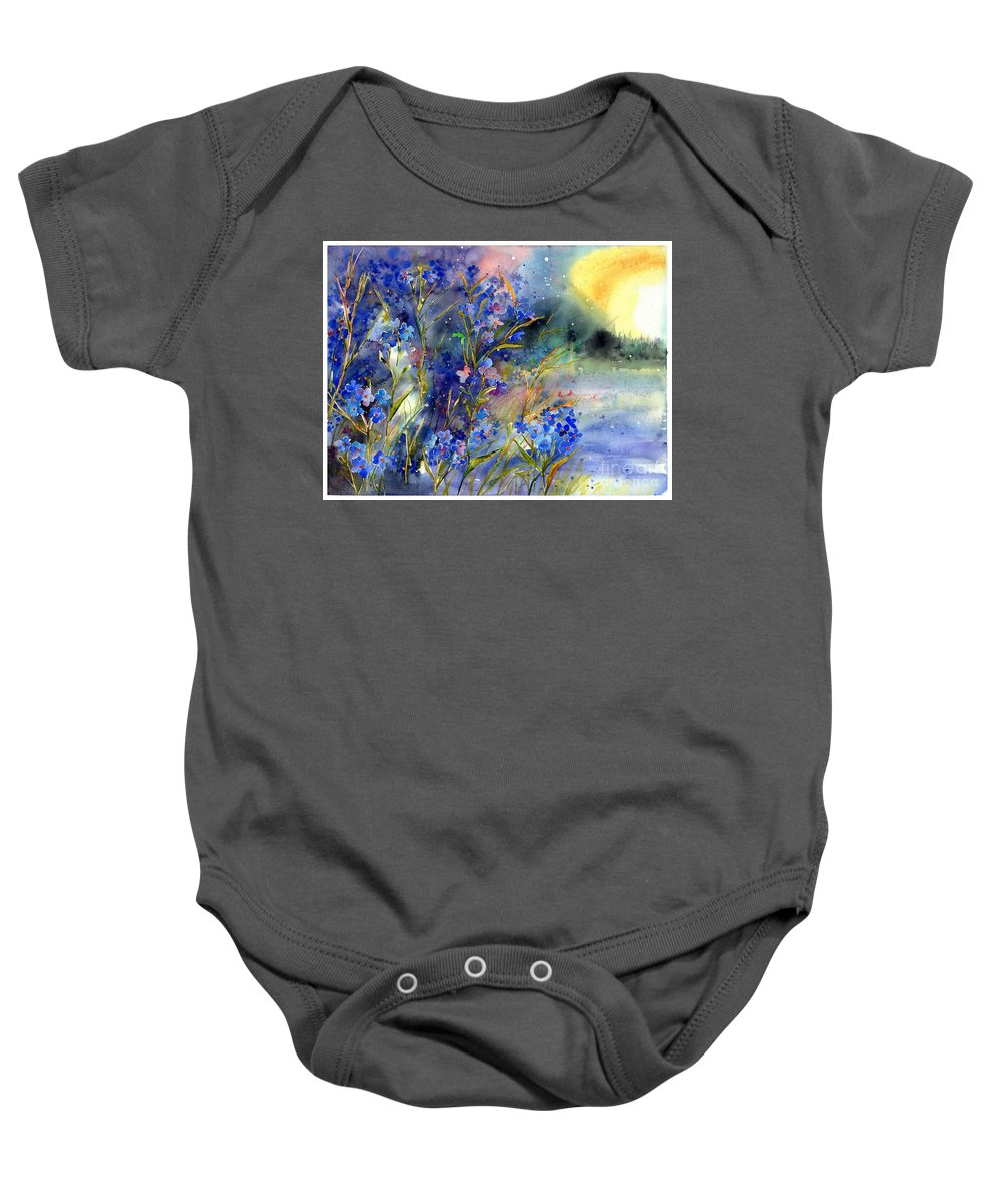 Cosmic Baby Onesie featuring the painting Forget-me-not Watercolor by Suzann Sines