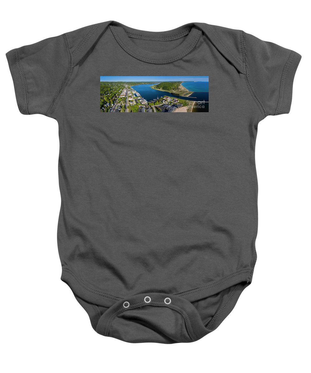 Frankfort Baby Onesie featuring the photograph Frankfort And Elberta Aerial Panorama by Twenty Two North Photography