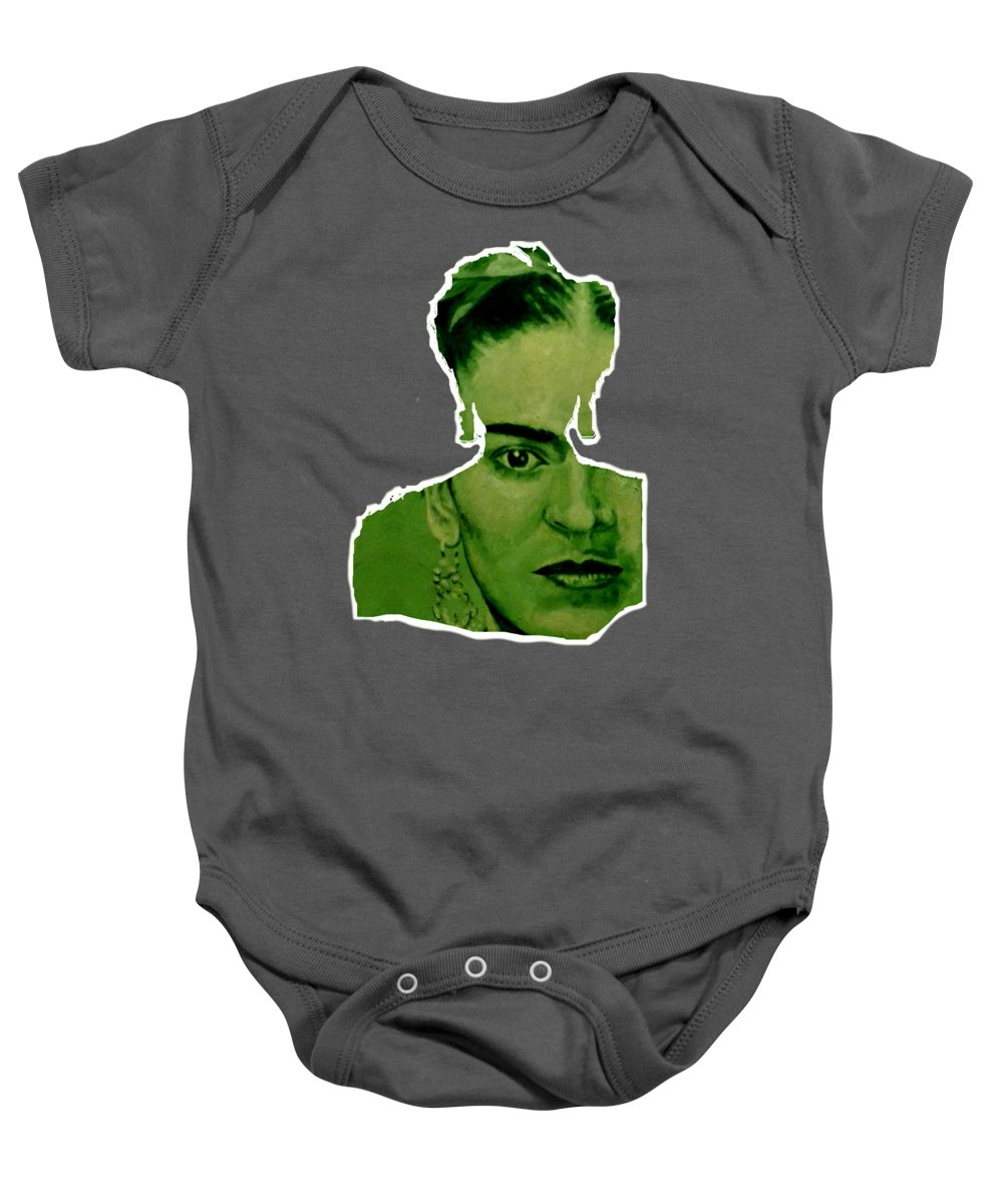 Frida Baby Onesie featuring the painting Frida 4u by Richard Tito