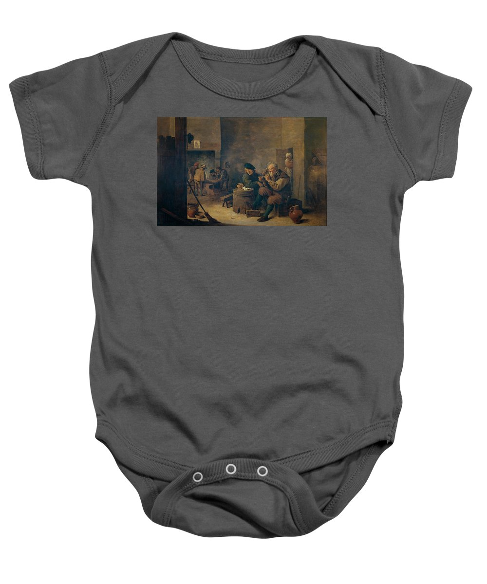 Teniers David Baby Onesie featuring the painting Fumadores  by Teniers David