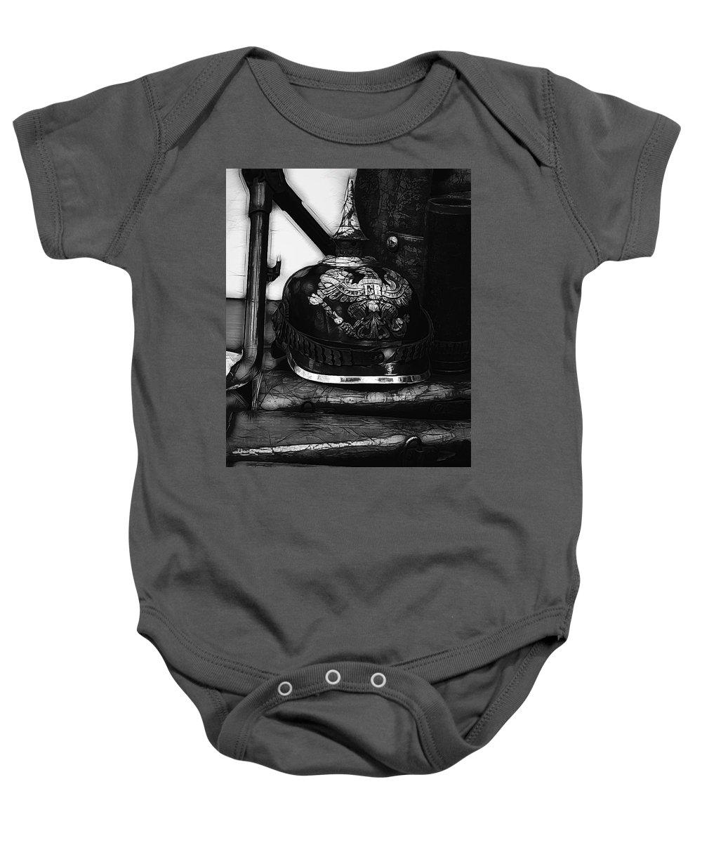 Ww1 Baby Onesie featuring the photograph Graphic Ww1 German Helmet by John Straton