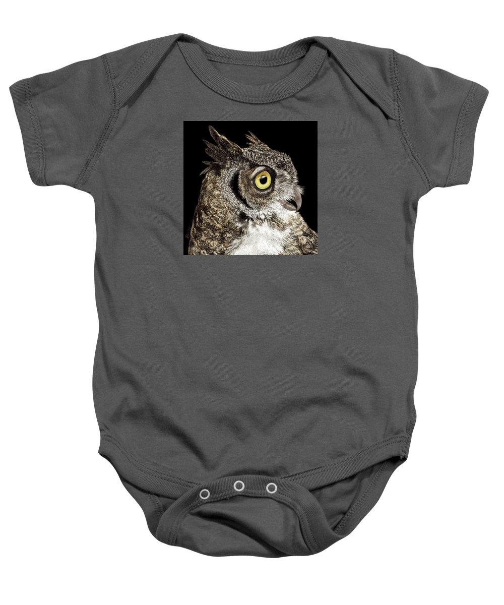 Owl Baby Onesie featuring the drawing Great-horned Owl by Ann Ranlett