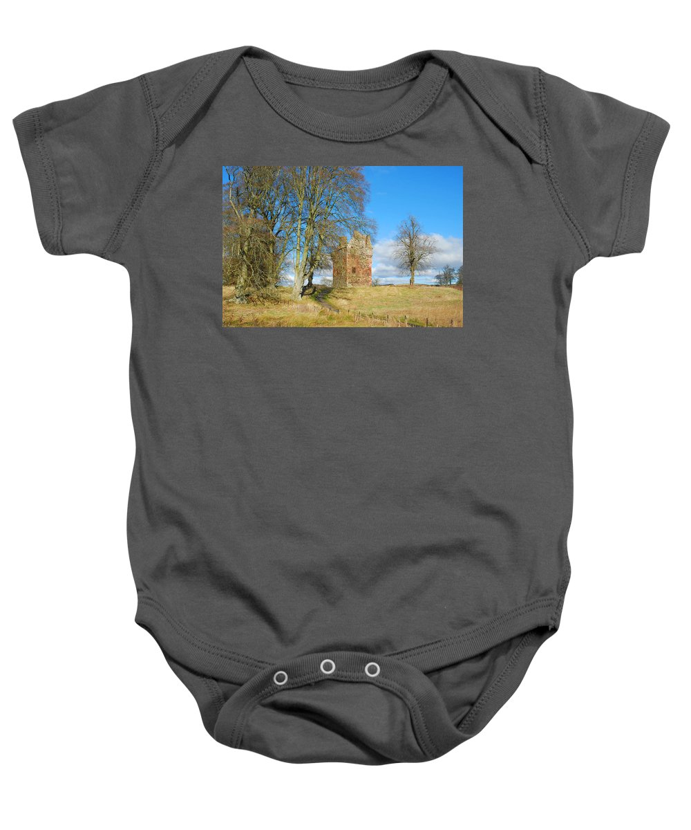Greenknowe Baby Onesie featuring the photograph Greenknowe Tower In Late Winter Sun Scottish Borders by Victor Lord Denovan