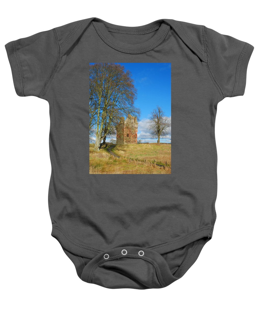 Greenknowe Baby Onesie featuring the photograph Greenknowe Tower In Winter Sun, Scottish Borders by Victor Lord Denovan