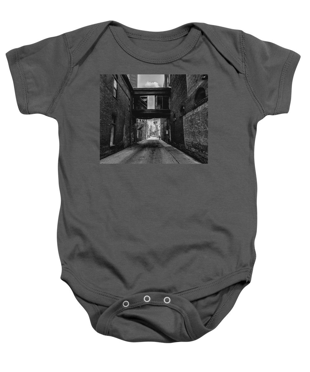 Black And White Baby Onesie featuring the photograph Gritty City by Paul Kercher