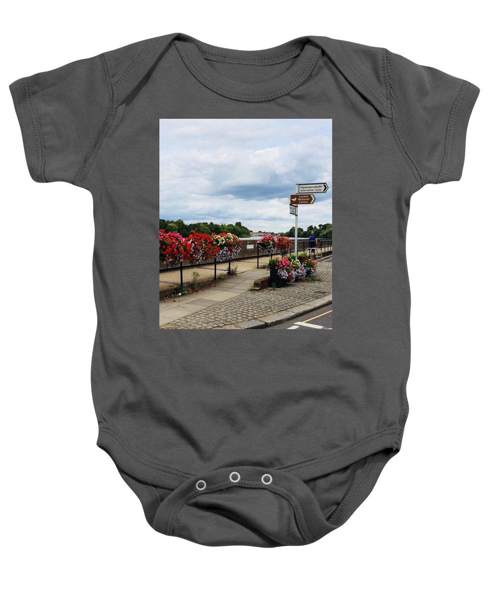 Road Sign/ Directions Baby Onesie featuring the photograph Hammersmith by Vera De Gernier