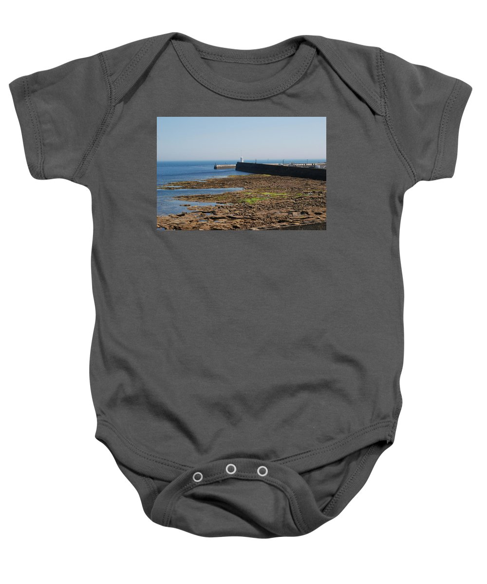 Harbour Baby Onesie featuring the photograph harbour at Seahouses on hazy summer day by Victor Lord Denovan