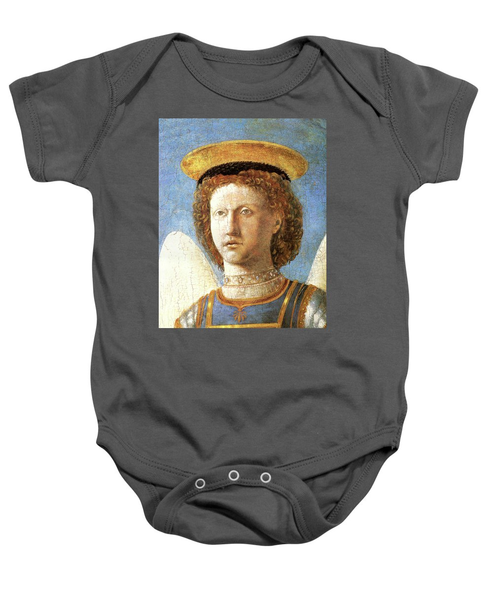 Head Of St. Michael Baby Onesie featuring the painting Head Of St. Michael by Piero della Francesco