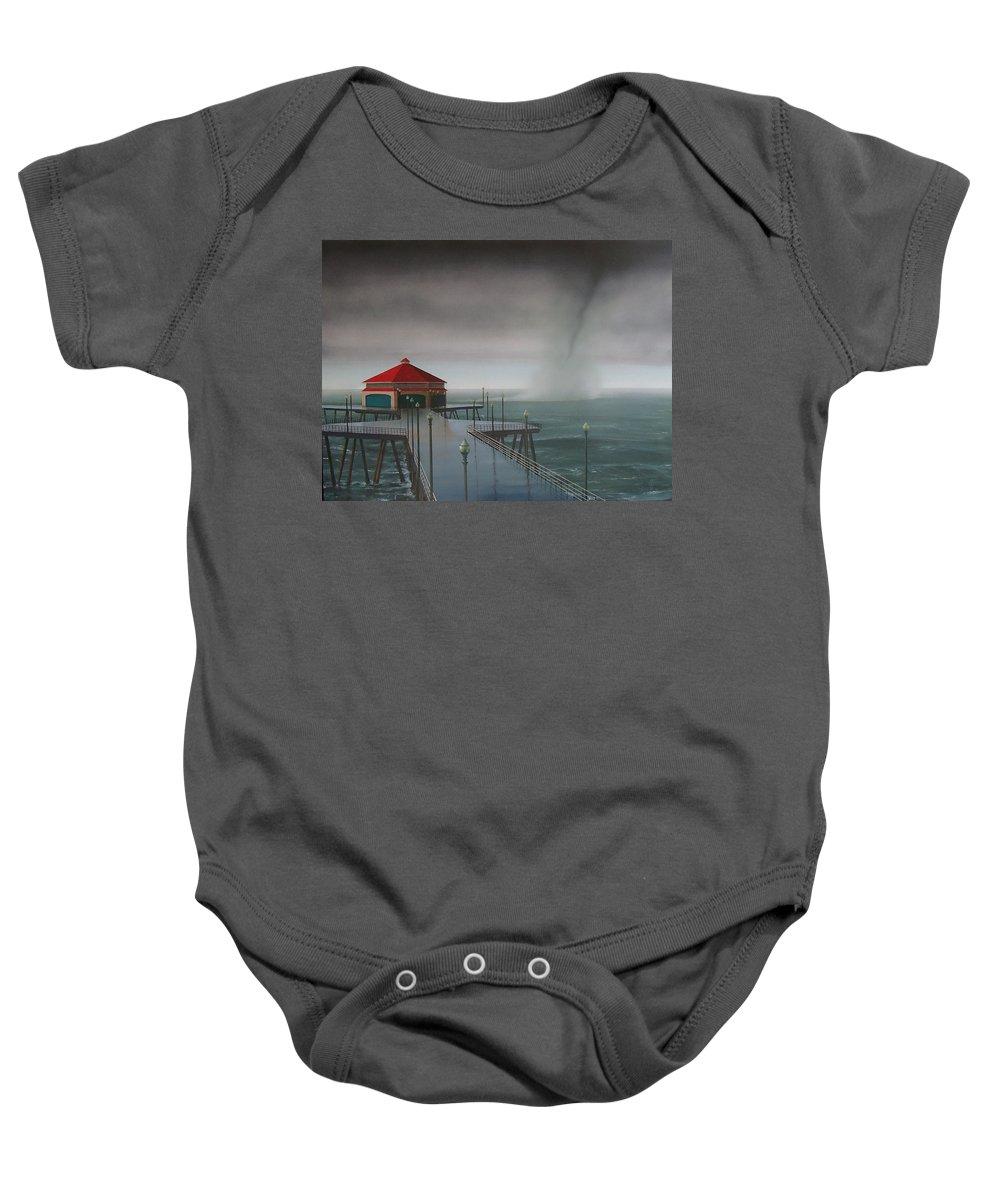 Huntington Beach Baby Onesie featuring the painting Huntington Beach Pier waterspout by Philip Fleischer