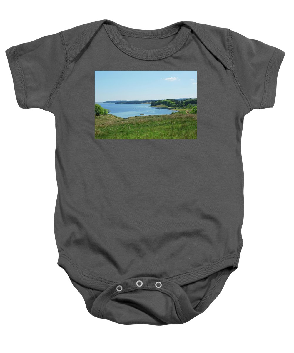 Kielder Baby Onesie featuring the photograph Kielder Water And Marina Bay In Northumberland by Victor Lord Denovan