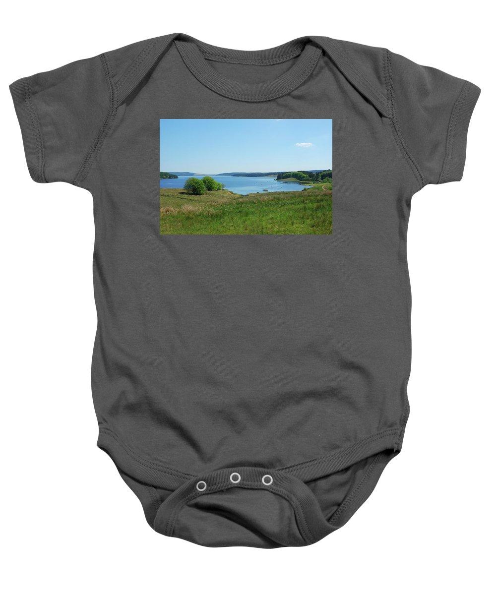 Kielder Baby Onesie featuring the photograph Kielder Water In Northumberland by Victor Lord Denovan