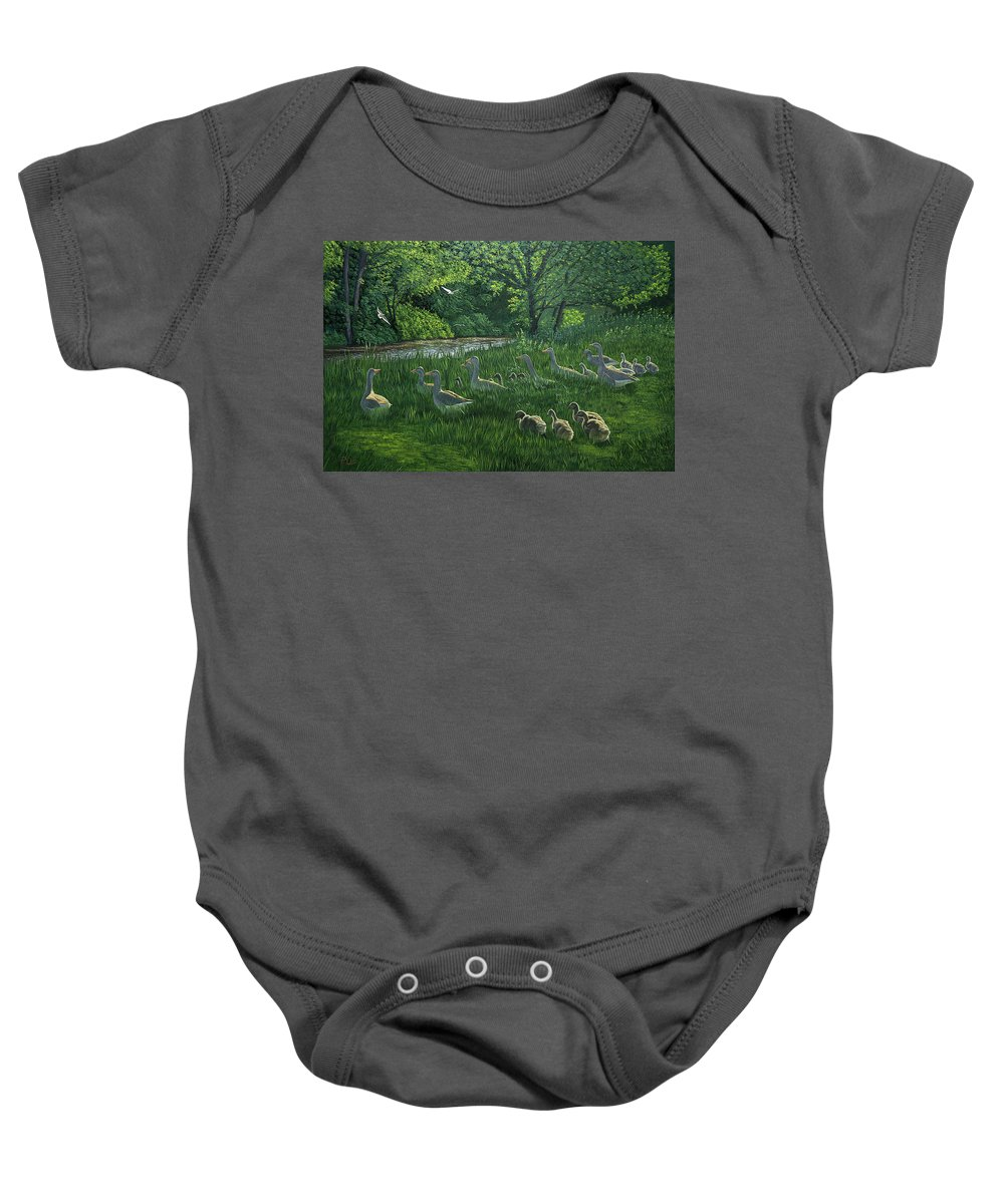 Riverscape Baby Onesie featuring the painting Last One In's A Duck by Raymond Ore