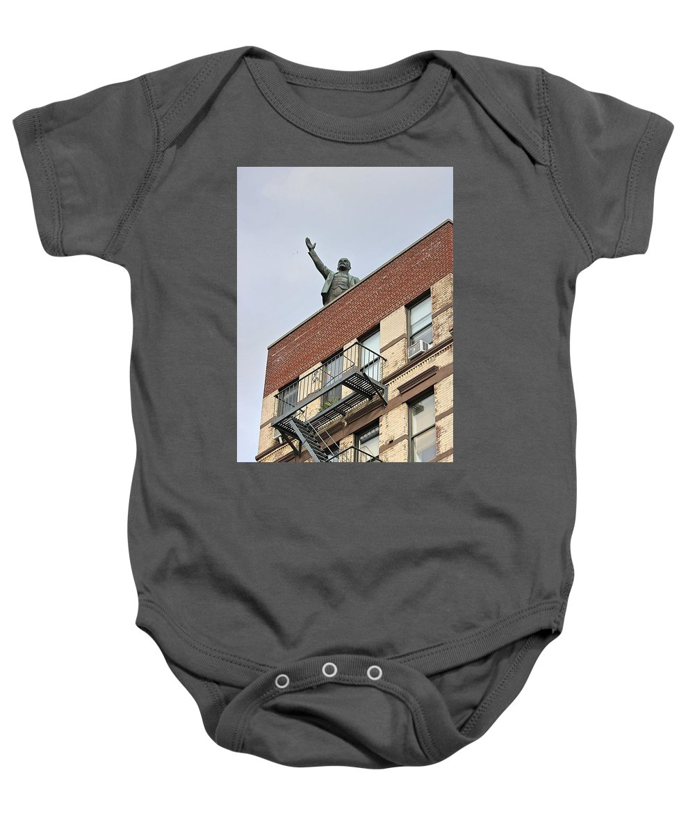 History Baby Onesie featuring the photograph Lenin Statue In East Village N Y C by Nick Difi