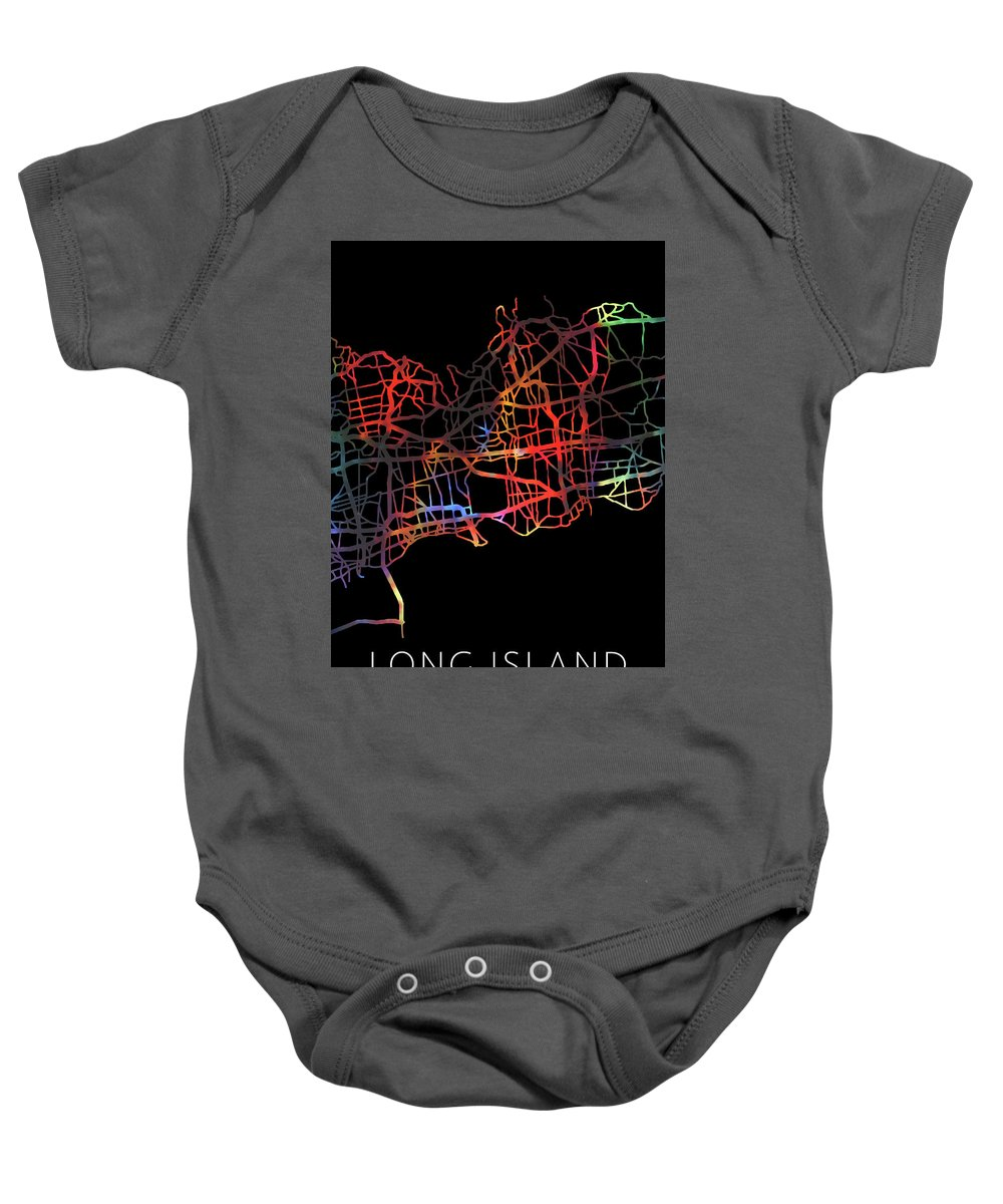 Long Island Baby Onesie featuring the mixed media Long Island New York Watercolor City Street Map Dark Mode by Design Turnpike