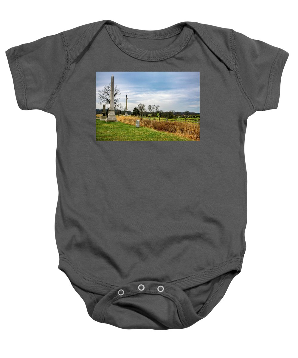 This Is A Photo Standing Near The Union Line In Front Of The Copse Of Trees Baby Onesie featuring the photograph Looking Down The Union Line by William Rogers
