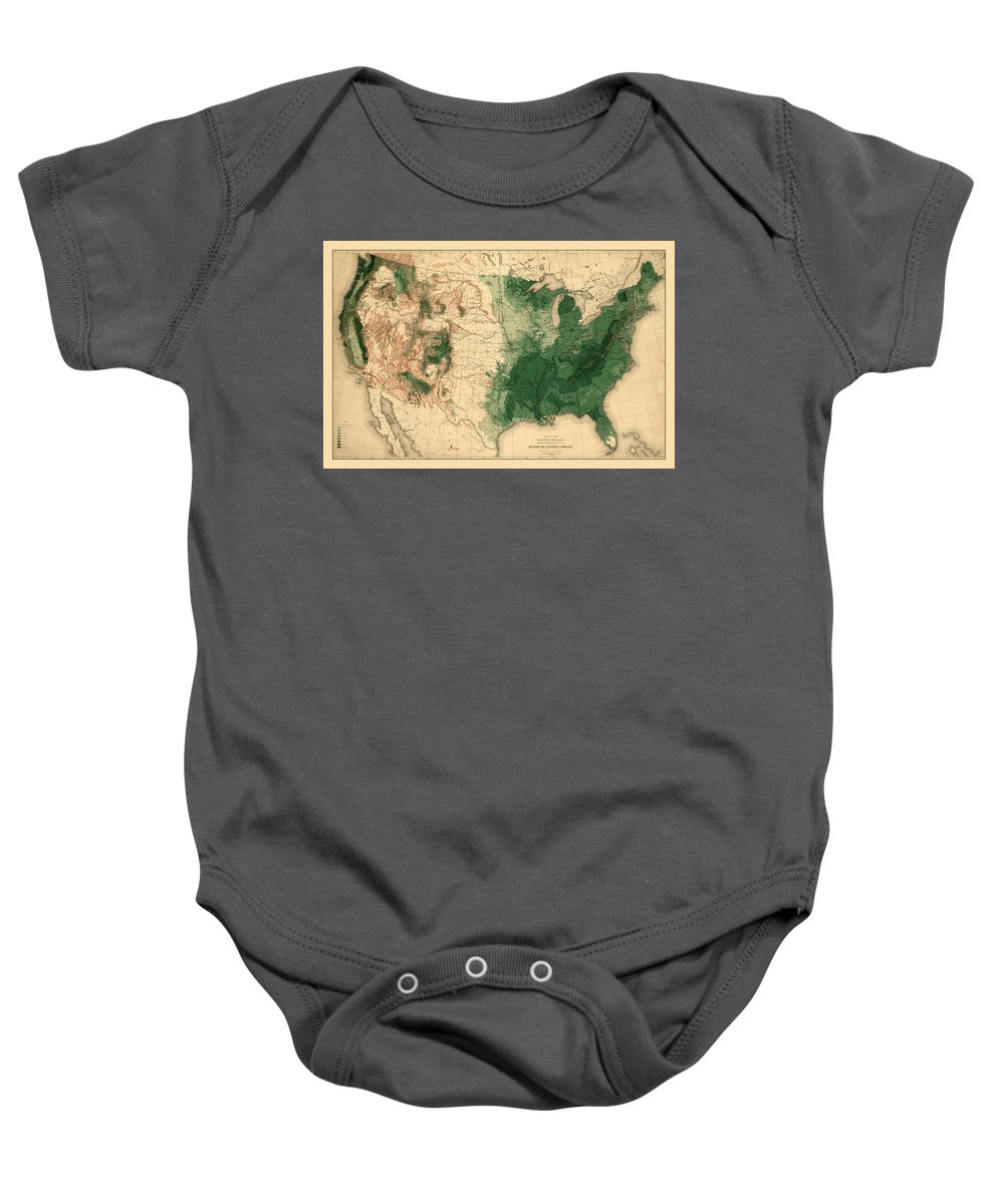 Map Of American Forests Baby Onesie featuring the photograph Map Of American Forests 1883 by Andrew Fare