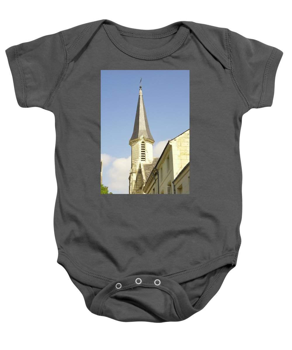 Spire Baby Onesie featuring the photograph medieval church spire in France by Victor Lord Denovan