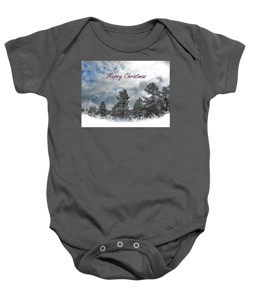 Greeting Card Baby Onesie featuring the photograph Merry Christmas by Debby Pueschel