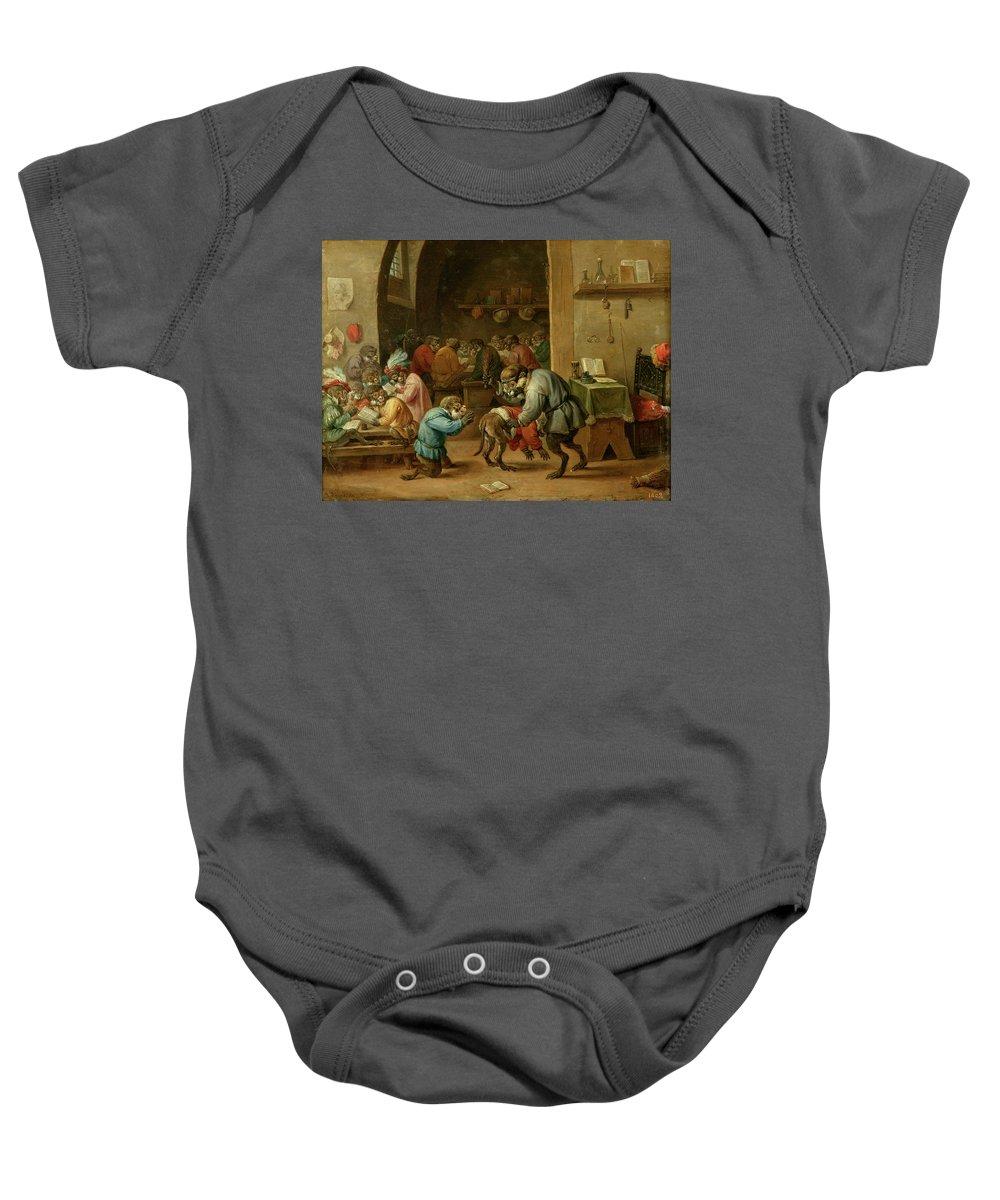 Teniers David Baby Onesie featuring the painting Monos En La Escuela  by Teniers David