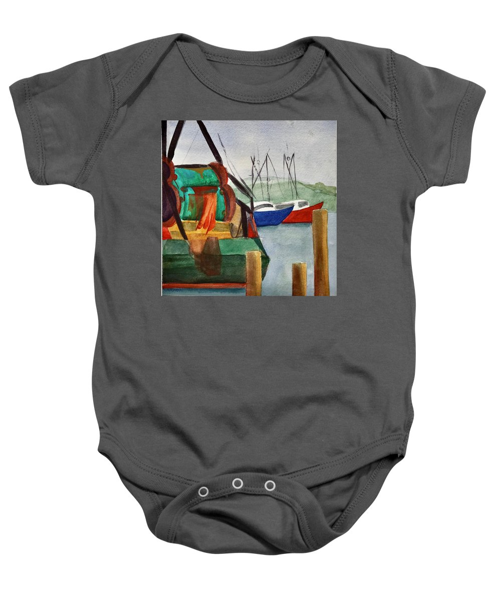 Fishing Boats Baby Onesie featuring the painting Montauk Dock W by Lynne Bolwell