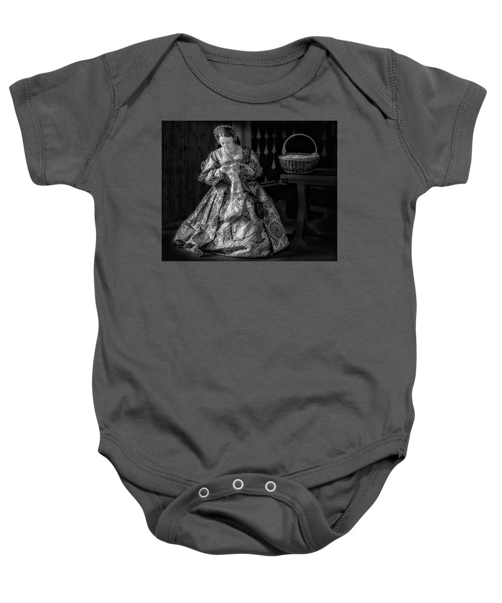 Scotland Baby Onesie featuring the photograph Needlework 4417bw by Karen Celella