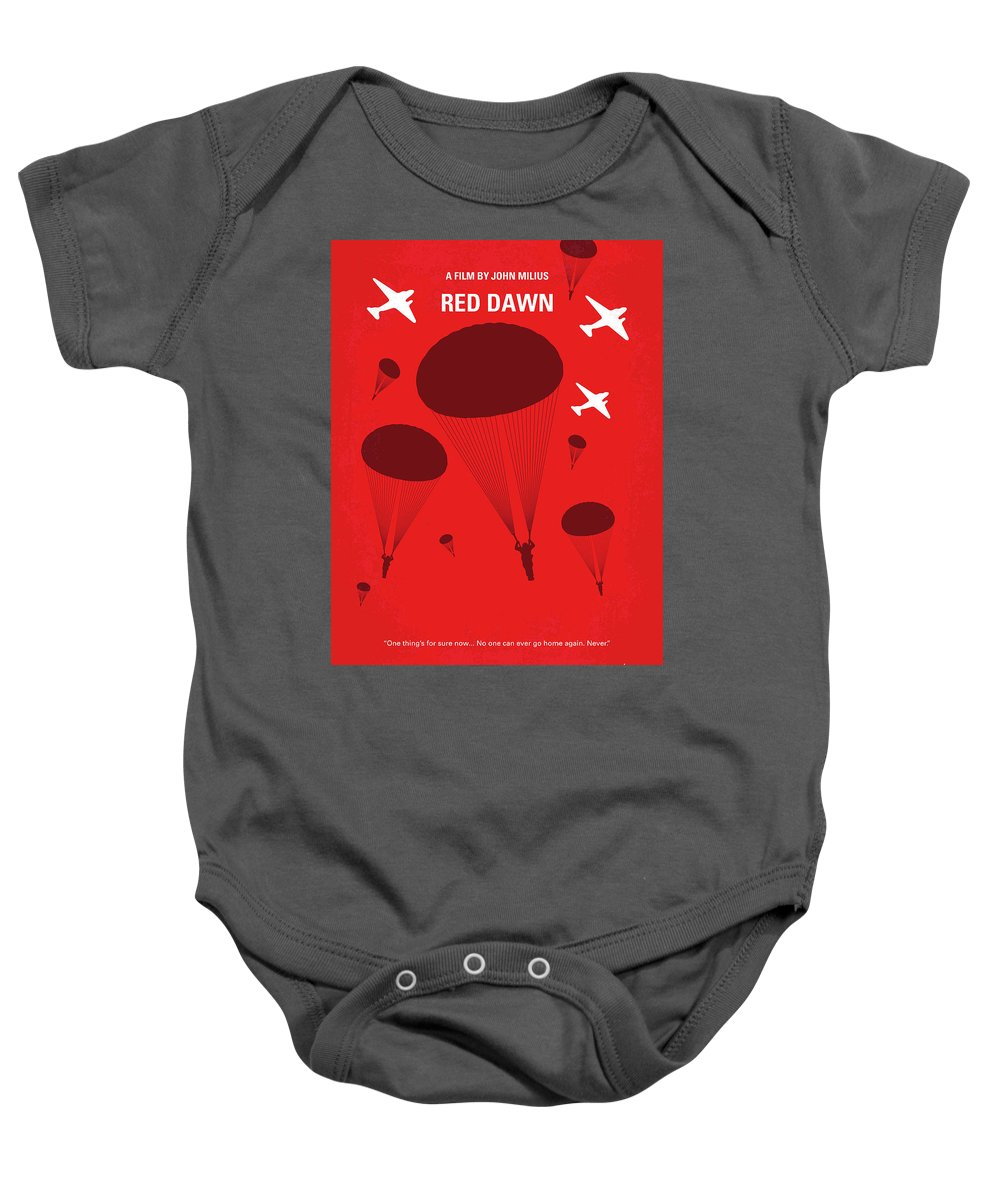 Red Baby Onesie featuring the digital art No1018 My Red Dawn Minimal Movie Poster by Chungkong Art