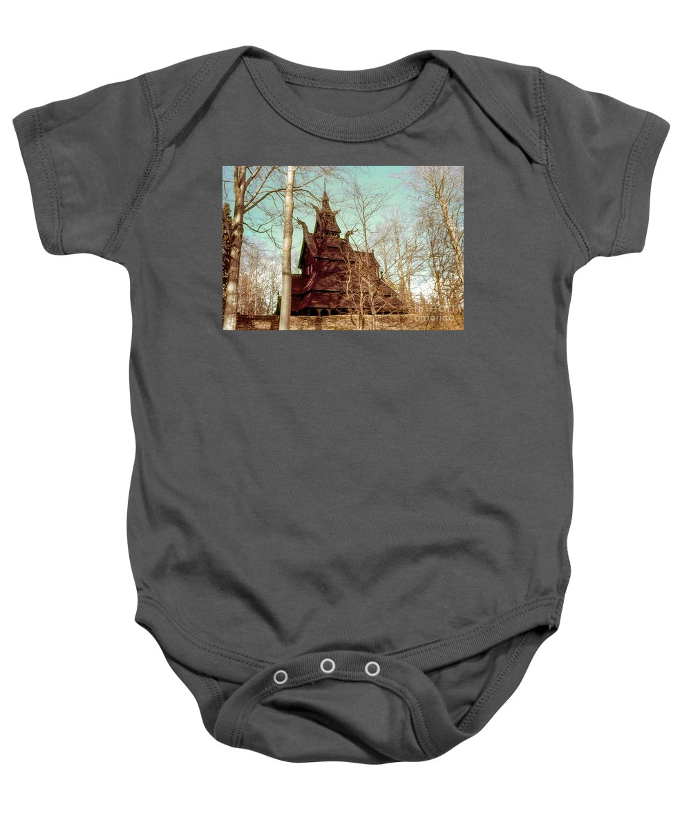Fantoft Stave Church Baby Onesie featuring the photograph Norwegian Stave Church by Bob Phillips