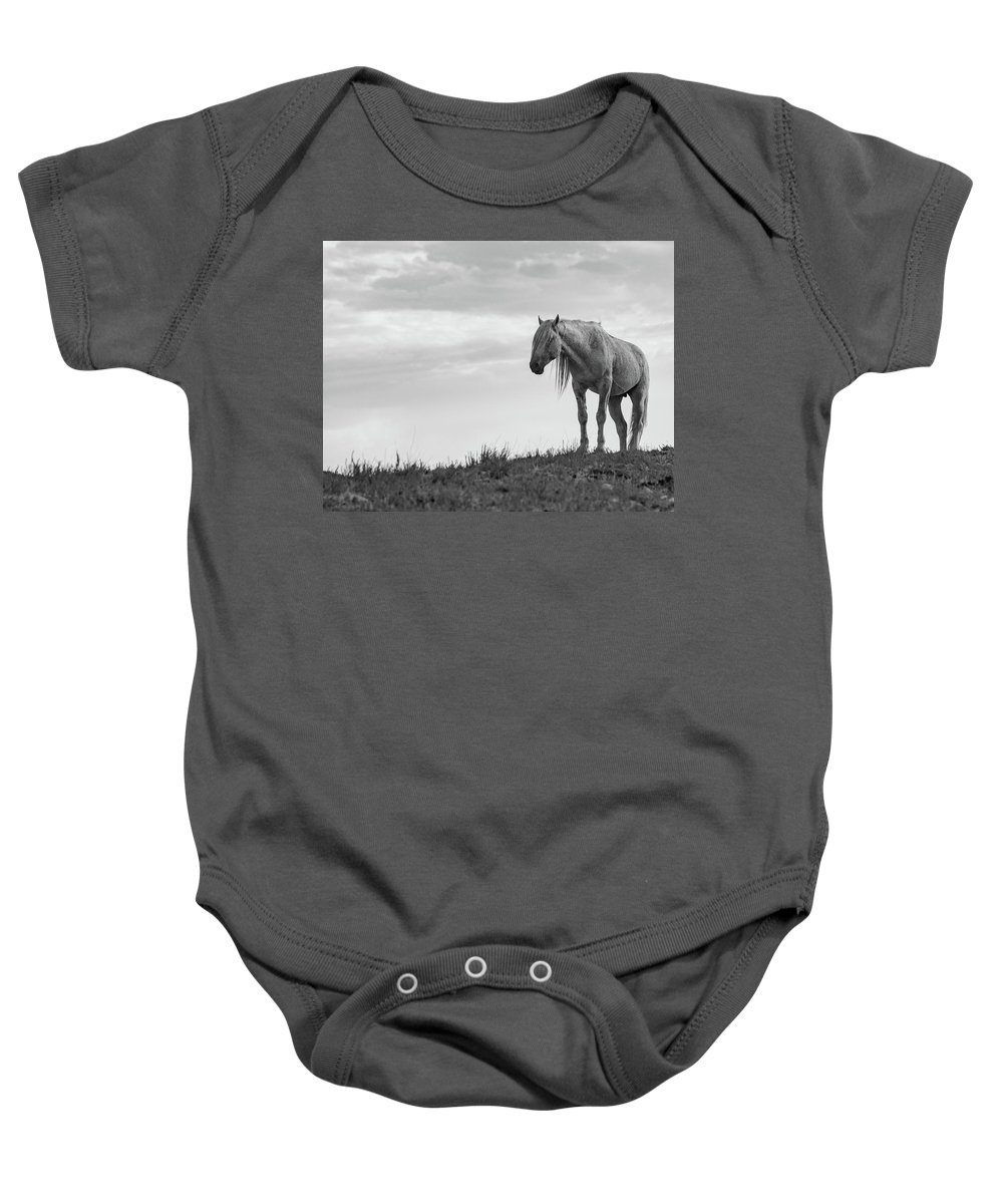 Wild Horse Desert Black And White Equine Old Baby Onesie featuring the photograph Old Man by Dirk Johnson