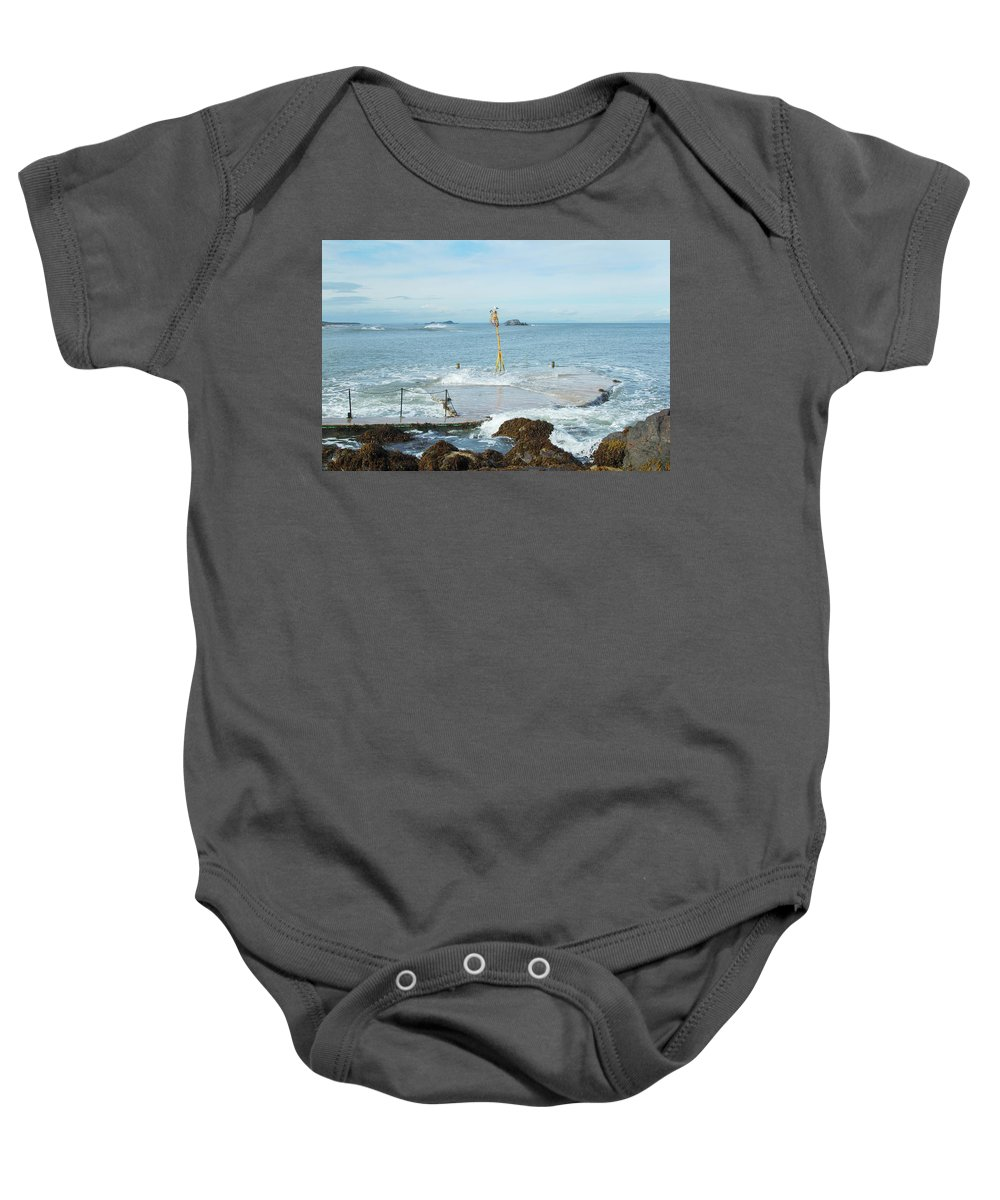 Pier Baby Onesie featuring the photograph old pier at North berwick and Forth estuary by Victor Lord Denovan