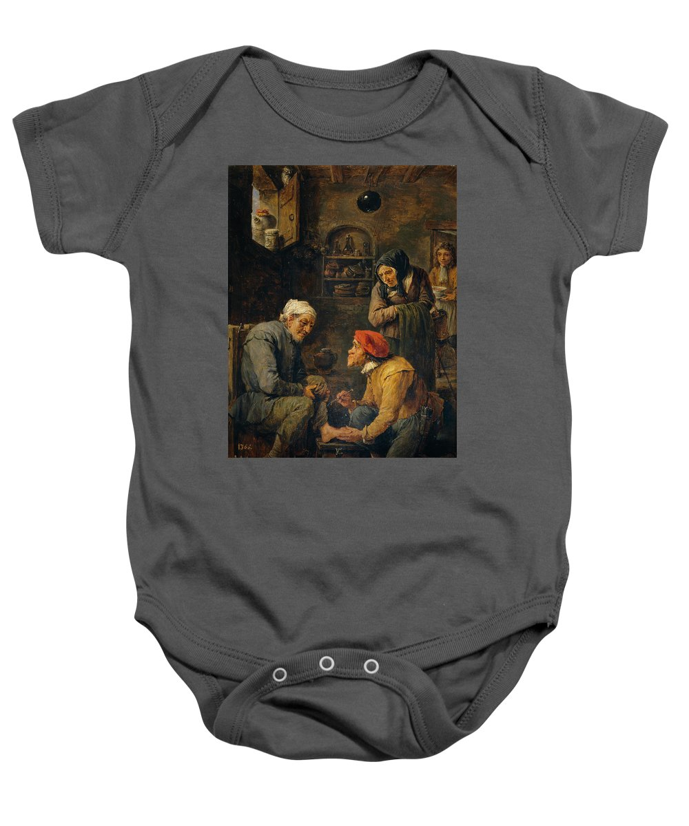 Teniers David Baby Onesie featuring the painting Operacion Quir Rgica  by Teniers David