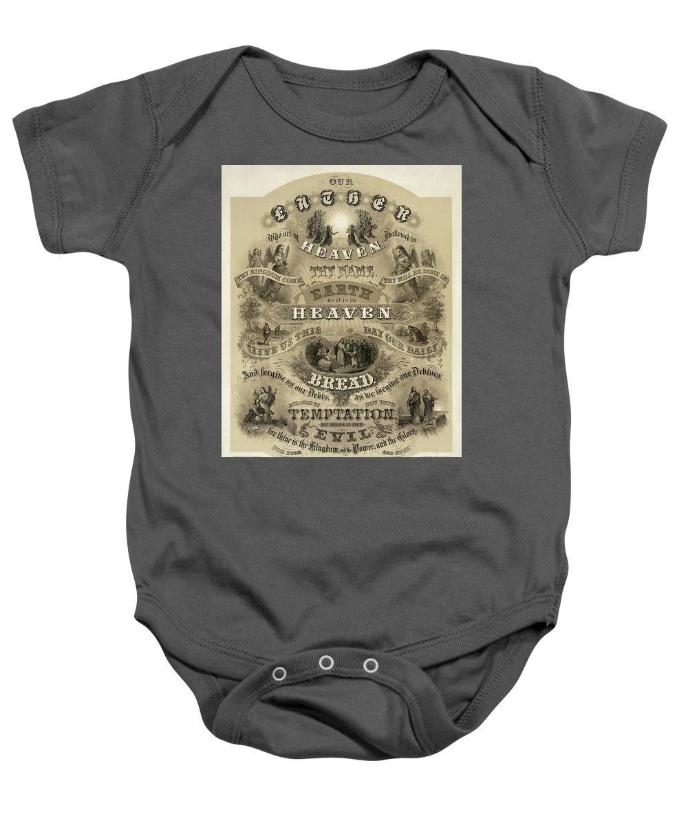 Our Father Baby Onesie featuring the painting Our Father Who Art In Heaven, 1876 by American School