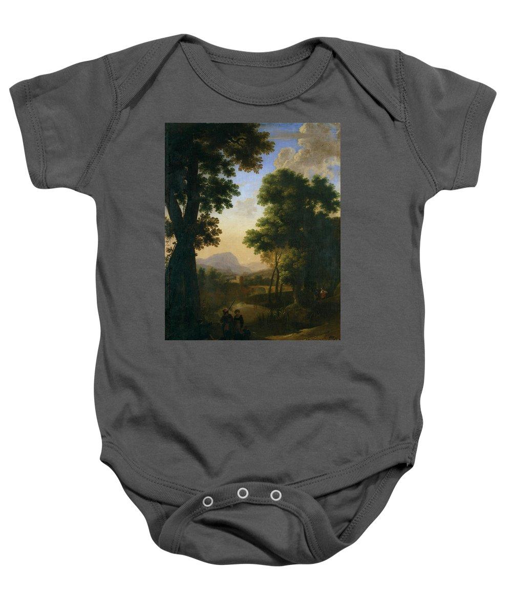 Swanevelt Herman Van Baby Onesie featuring the painting Paisaje Con Caminantes Con Un Nino Y Perro  by Swanevelt Herman van