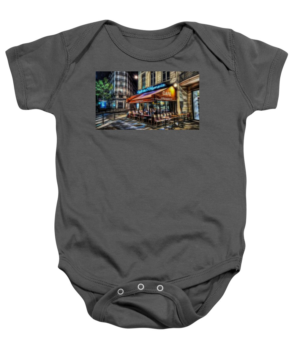 Paris Baby Onesie featuring the mixed media Paris Cafe by Marvin Blaine