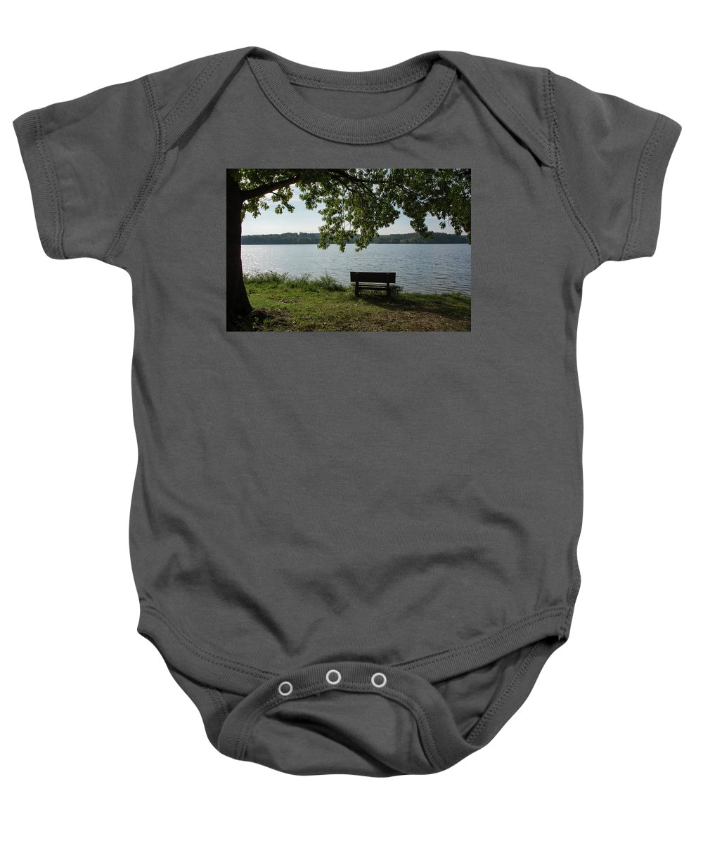 Landscape Baby Onesie featuring the photograph Peaceful Bench by Jennifer Wick
