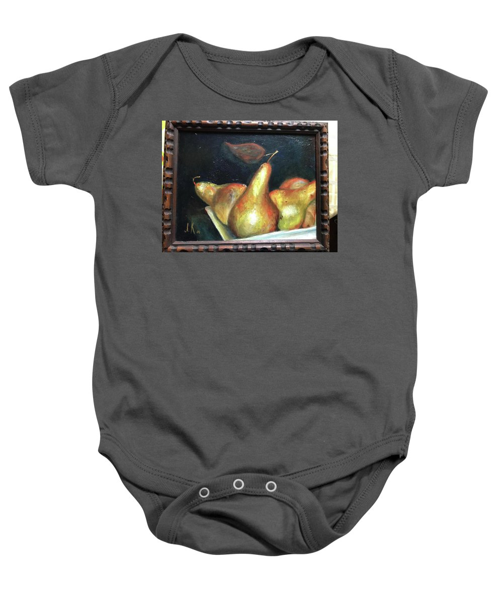 Still Life Baby Onesie featuring the painting Pears by Irina Kharchenko