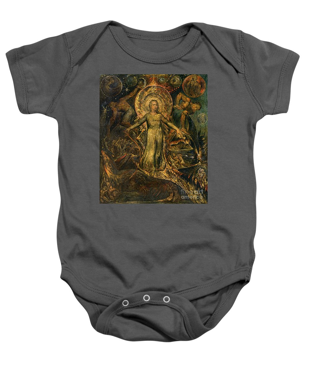 1805 Baby Onesie featuring the painting Pitt Guiding Behemoth, C1805 by William Blake