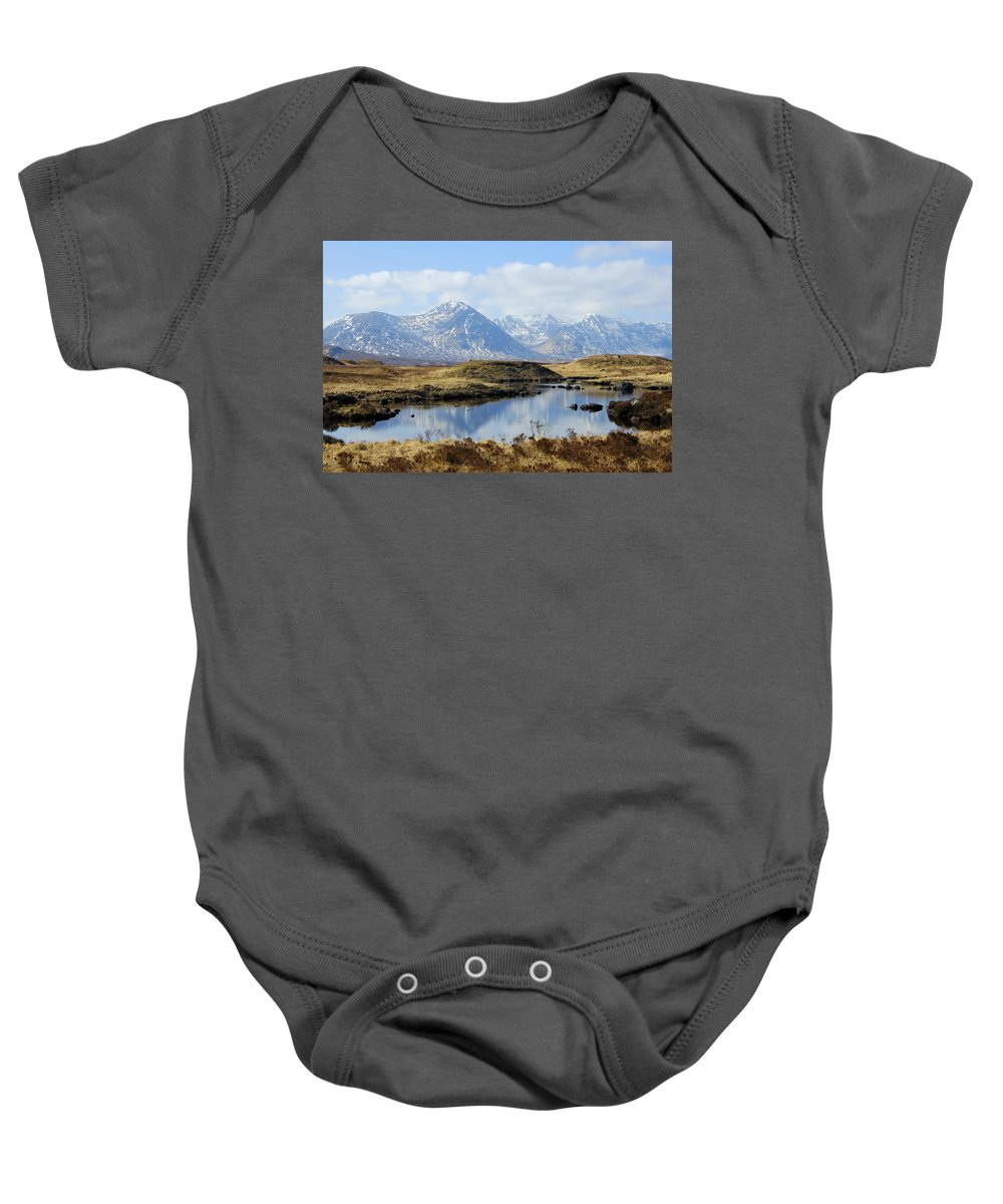 Reflections Baby Onesie featuring the photograph Rannoch Moor In Winter by Victor Lord Denovan