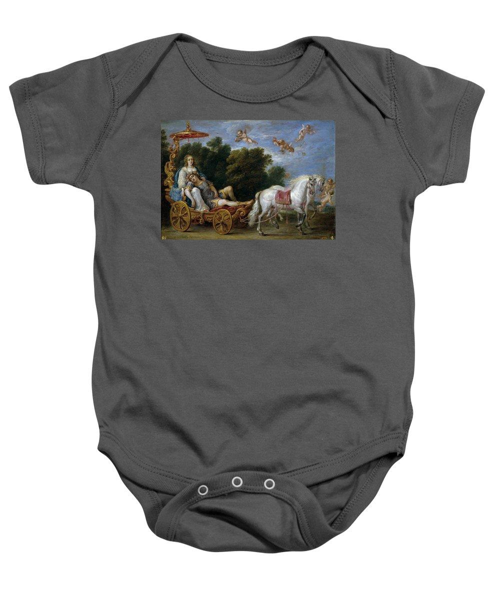 Teniers David Baby Onesie featuring the painting Reinaldo Llevado En Suenos A Las Islas Afortunadas  by Teniers David