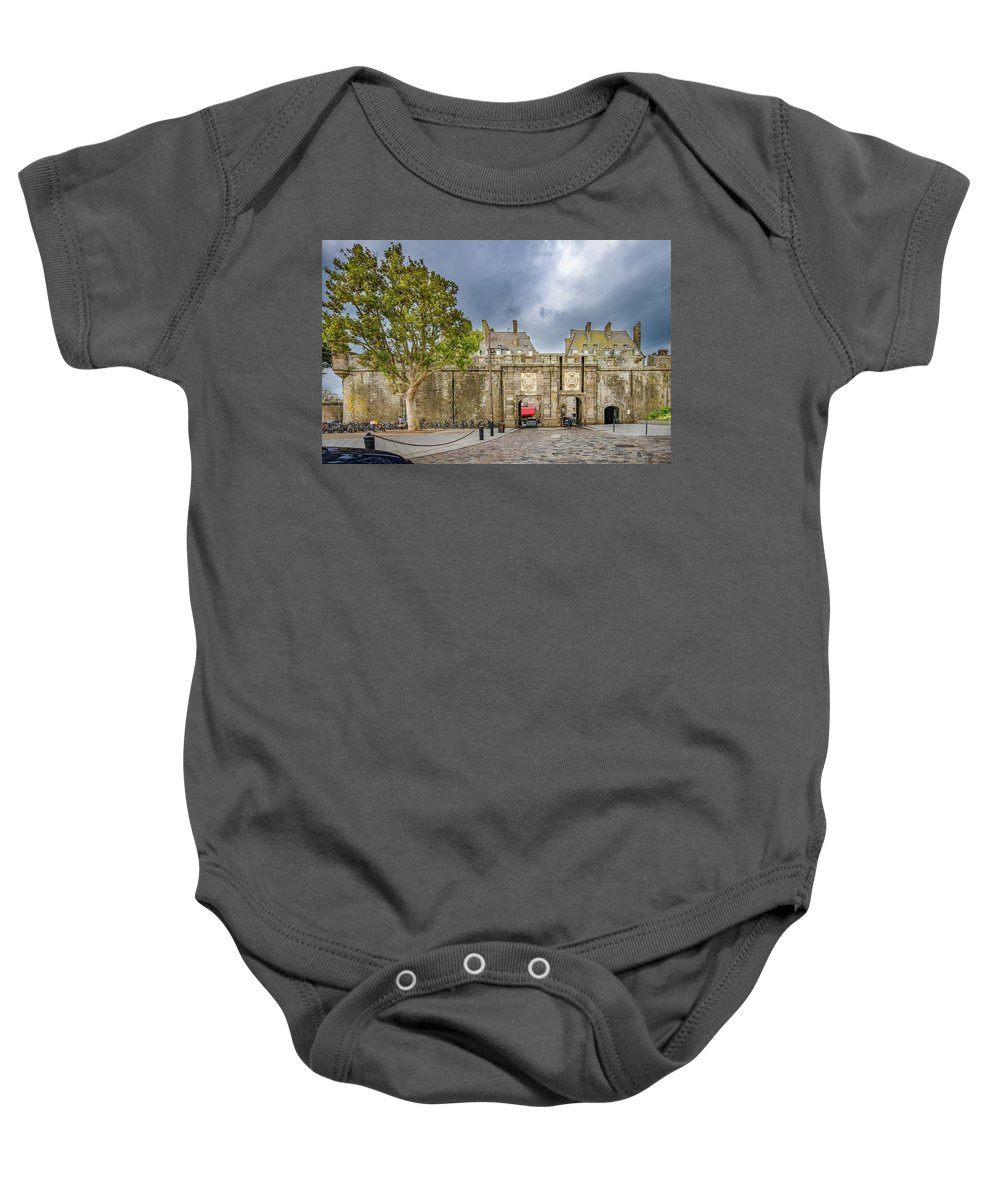 Saint-malo Baby Onesie featuring the photograph Saint-malo Gates by Alida Thorpe