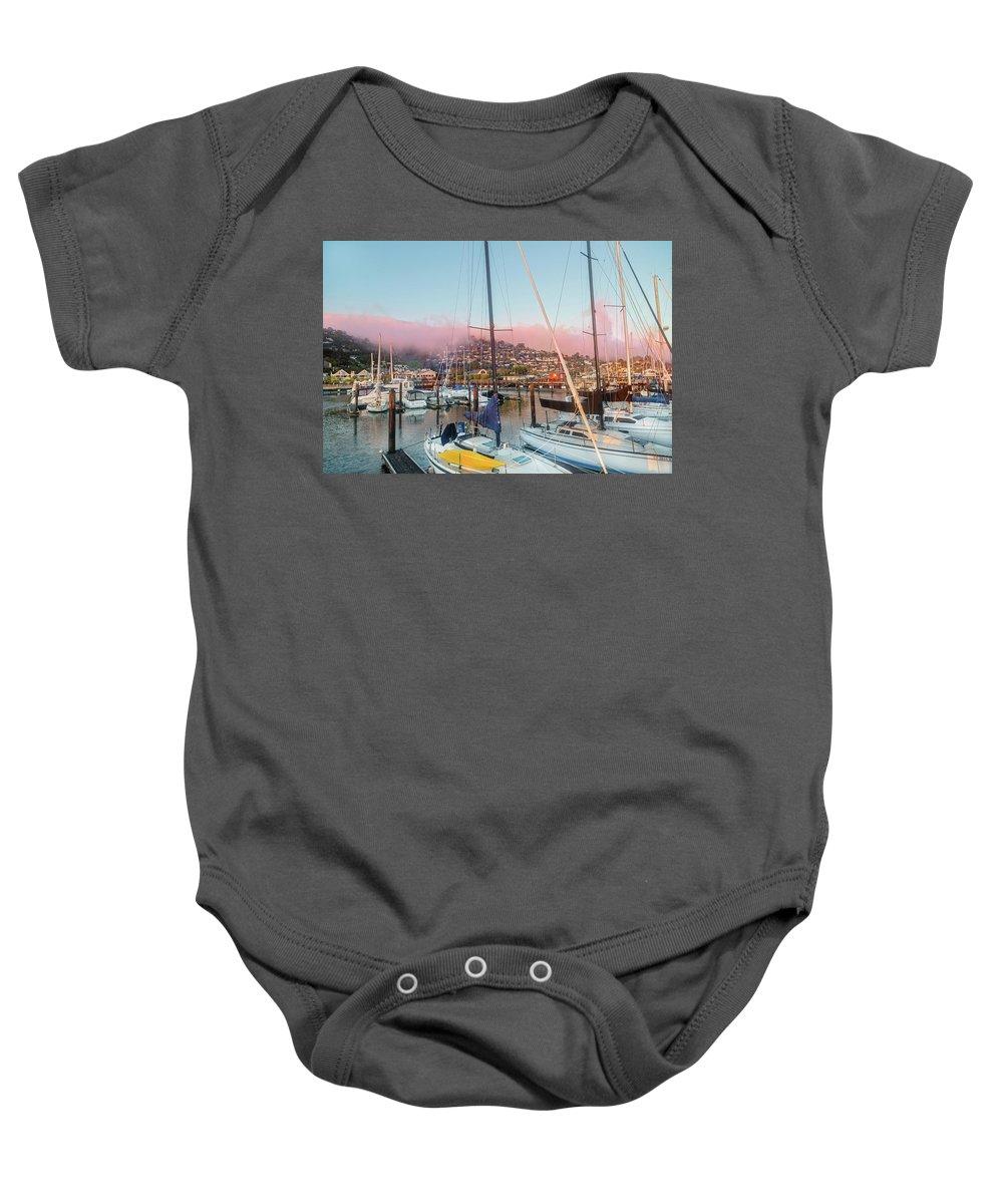 Sausalito Baby Onesie featuring the photograph Sausalito California Pink Ribbon Morning by Betsy Knapp