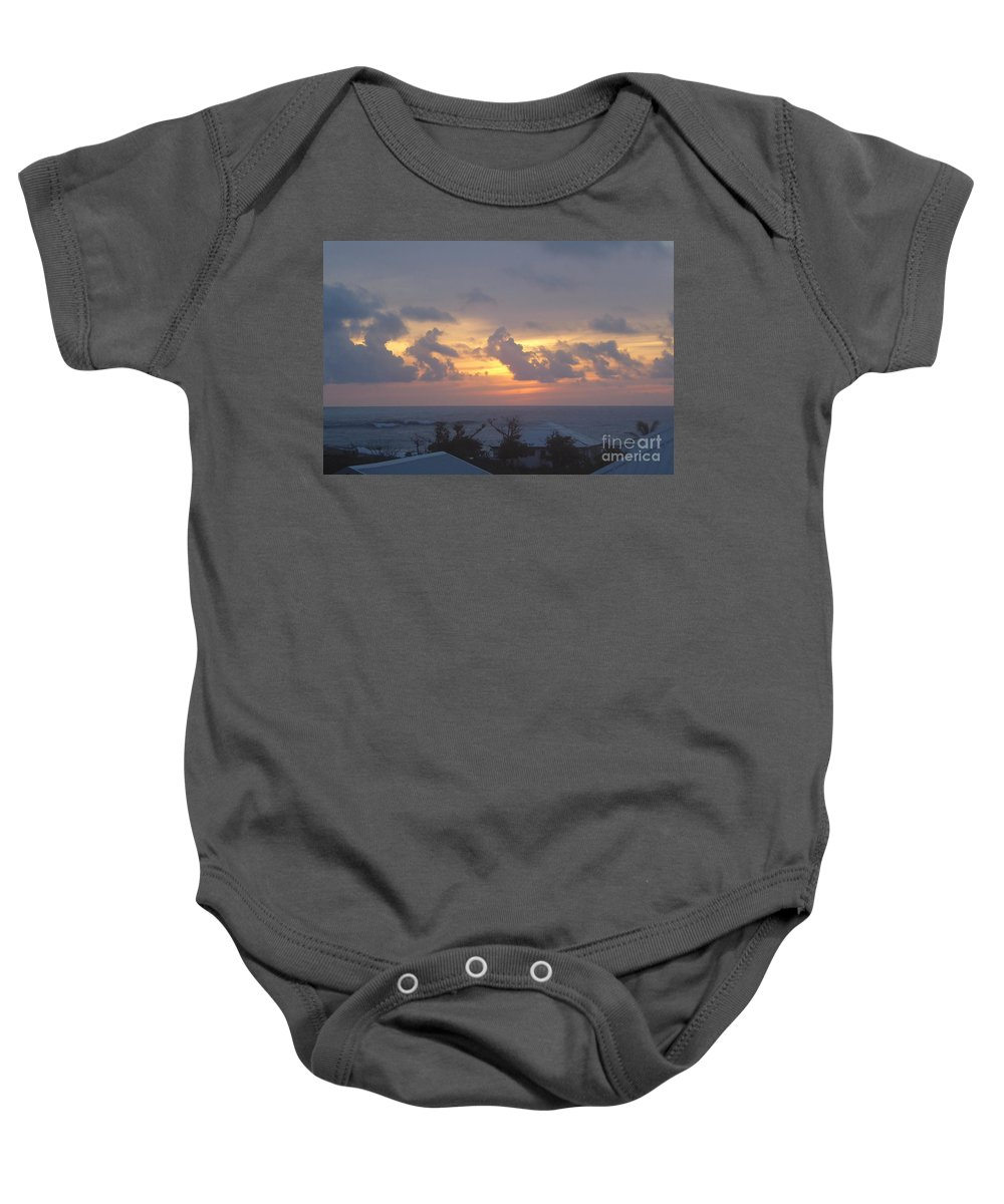 Serene Baby Onesie featuring the photograph Serene Sunrise by Margaret Brooks