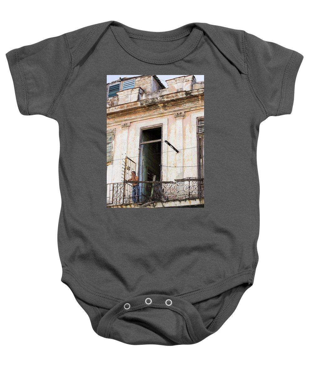Balcony Baby Onesie featuring the photograph Smoker On Balcony In Cuba by Jennifer Thomas