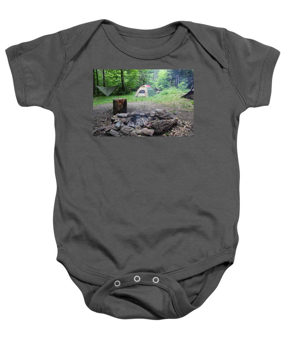 Tents Baby Onesie featuring the photograph Smoking Tents by Brittany Galipeau